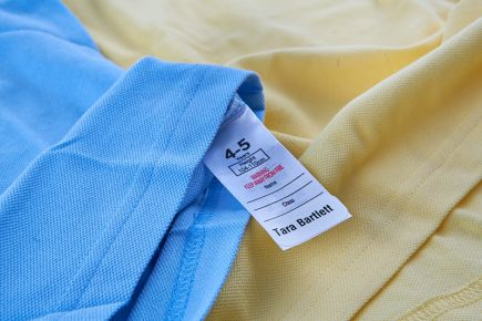 Apply Clothes Labels Onto Wash-Care Label - blue and yellow