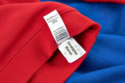 Apply Clothes Labels Onto Wash-Care Label - red