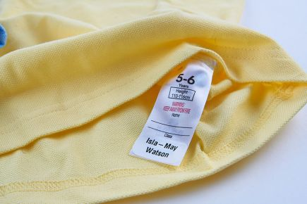 Apply Clothes Labels Onto Wash-Care Label - yellow